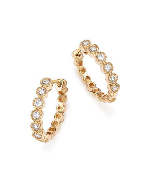 Bloomingdale's - Metallic Diamond Milgrain Bezel Hoop Earrings In 14k Yellow Gold, .25 Ct. T.w. - Lyst