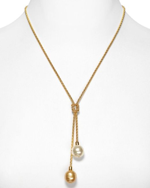 Majorica - White Love Knot Simulated Pearl Lariat Necklace - Lyst