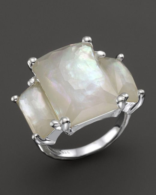 Ippolita - White Sterling Silver Rock Candy 3-stone Prong Set Ring In Mother-of-pearl - Lyst