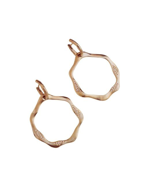 Antonini | Metallic 18k Rose Gold Anniversary Open Drop Champagne Diamond Earrings | Lyst