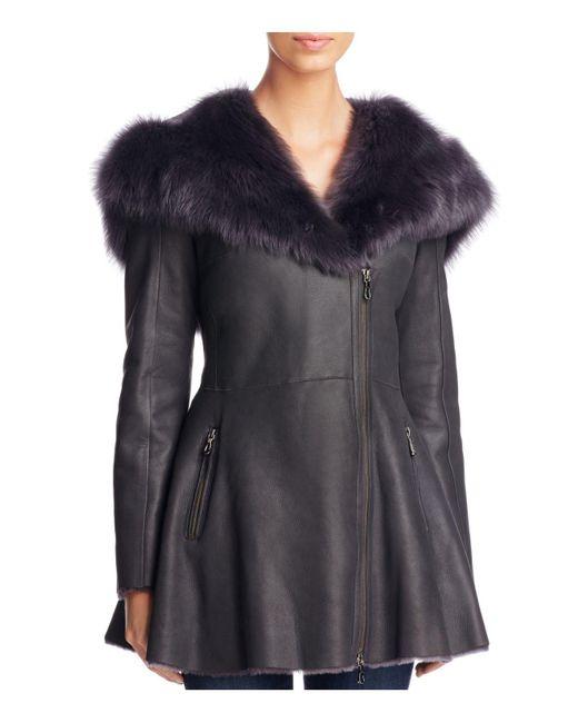 Maximilian | Gray Lamb Shearling Asymmetric Front Jacket | Lyst