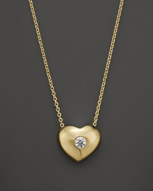 KC Designs   White Small Diamond Solitaire Heart Pendant Necklace In 14k Yellow Gold, .10 Ct. T.w.   Lyst