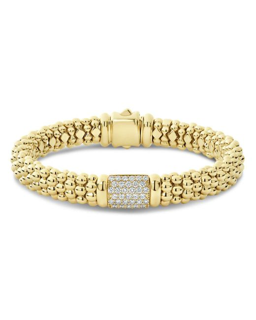 Lagos - Metallic 18k Yellow Gold Caviar Gold Pavé Diamond Bracelet - Lyst