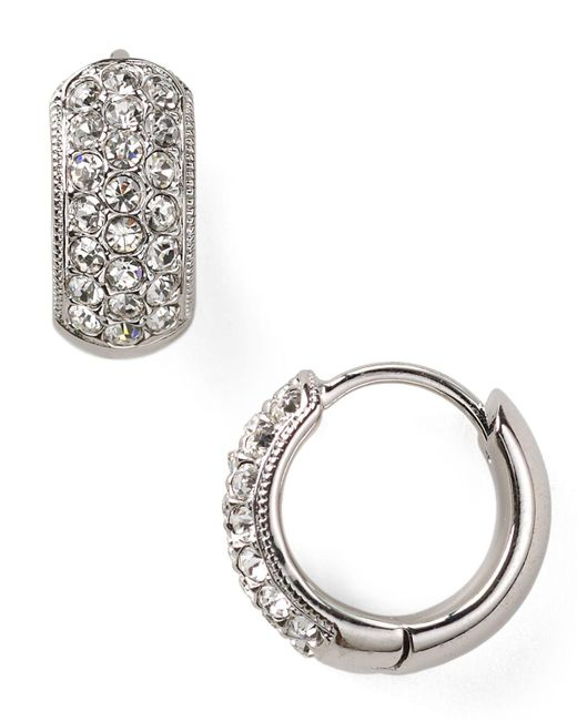 Nadri | Metallic Tiny Pave Huggie Hoop Earrings | Lyst