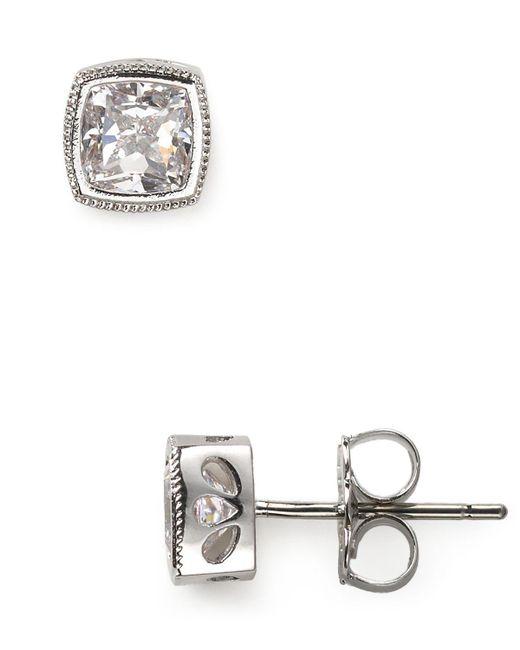 Nadri | Metallic Cushion Cut Stud Earrings | Lyst
