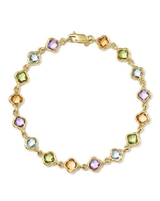 Bloomingdale's - Metallic Multi Gemstone Clover Bracelet In 14k Yellow Gold - Lyst
