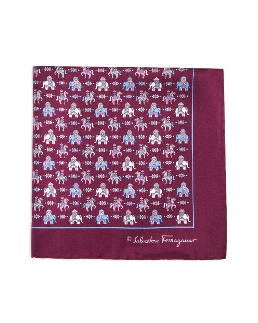 Ferragamo | Purple Regal Elephant And Horse Pocket Square for Men | Lyst