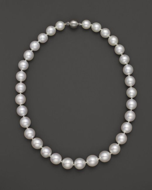 """Bloomingdale's - Metallic Cultured White South Sea Pearl Necklace In 14k Yellow Gold, 18"""" - Lyst"""