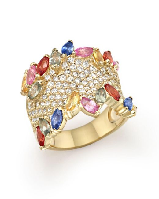 Bloomingdale's - Metallic Multicolor Sapphire And Diamond Statement Ring In 14k Yellow Gold - Lyst