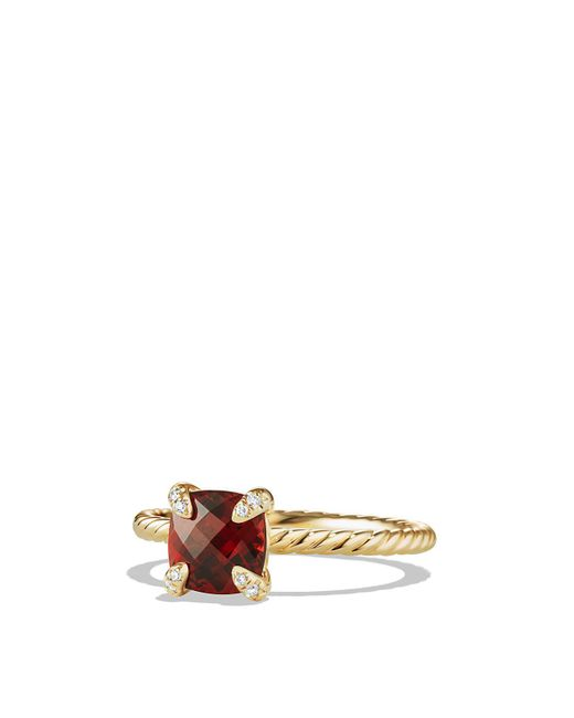 David Yurman | Red Châtelaine Ring With Garnet And Diamonds In 18k Gold | Lyst