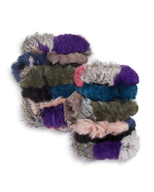 Jocelyn - Multicolor Knit Rabbit Fur Fingerless Gloves - Lyst