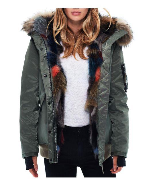 Sam. - Green Multi Luxe Sloane Fur-lined Down Bomber Jacket - Lyst
