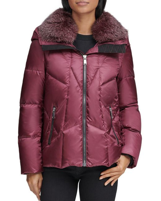 Andrew Marc - Multicolor Naya Fox Fur Trim Short Down Coat - Lyst