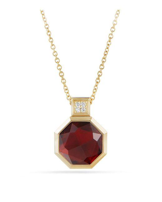 David Yurman - Metallic Guilin Octagon Pendant Necklace With Garnet And Diamonds In 18k Gold - Lyst