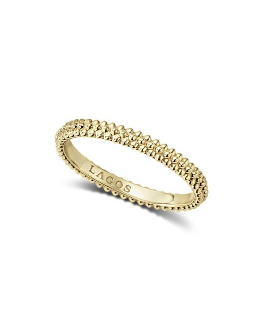 Lagos - Metallic Caviar Gold Collection 18k Gold Micro-beaded Ring - Lyst