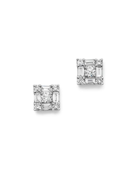 KC Designs - 14k White Gold Diamond Mosaic Stud Earrings - Lyst