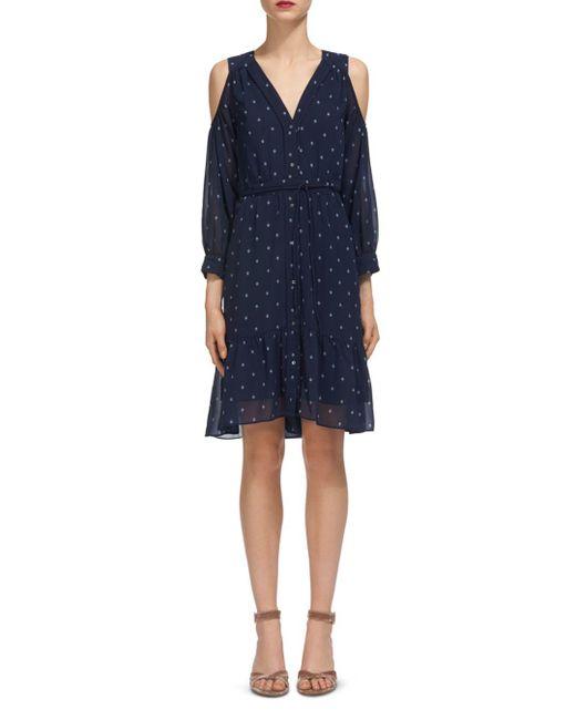 Whistles - Blue Cold-shoulder Printed Dress - Lyst
