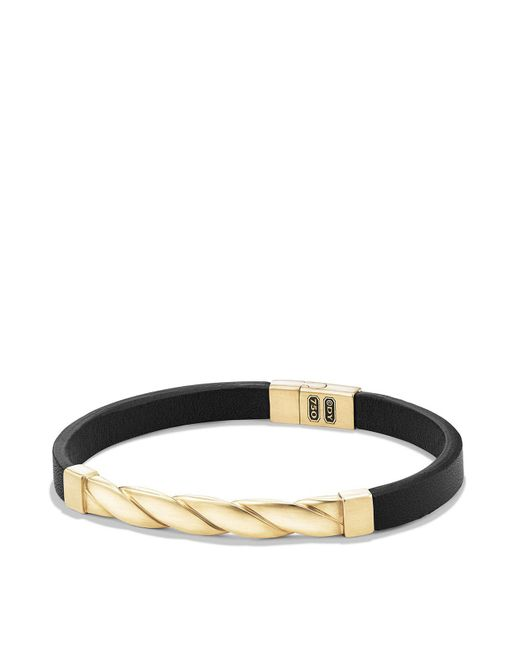 David Yurman - Cable Classics Leather Id Bracelet With 18k Gold In Black - Lyst