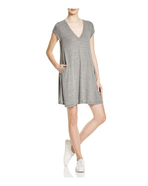 Current/Elliott | Gray The V-neck Jersey Trapeze Dress | Lyst