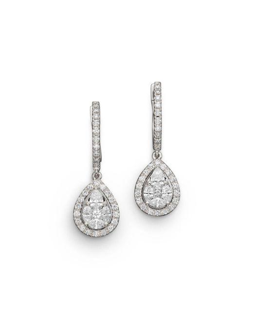 Bloomingdale's - Diamond Fancy Cut Teardrop Earrings In 14k White Gold, 1.40 Ct. T.w. - Lyst