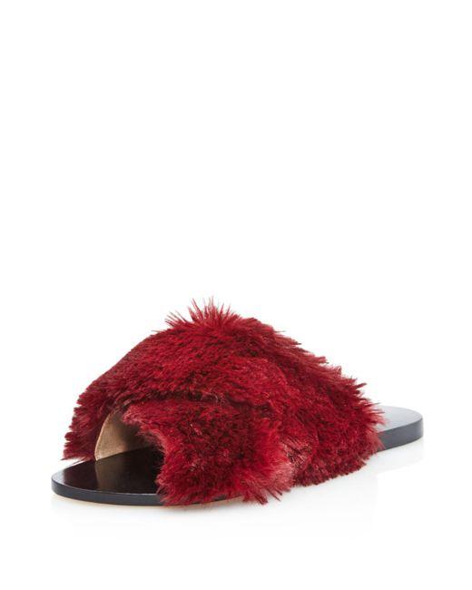 Raye - Red Sid Faux Fur Pool Slide Sandals - Lyst