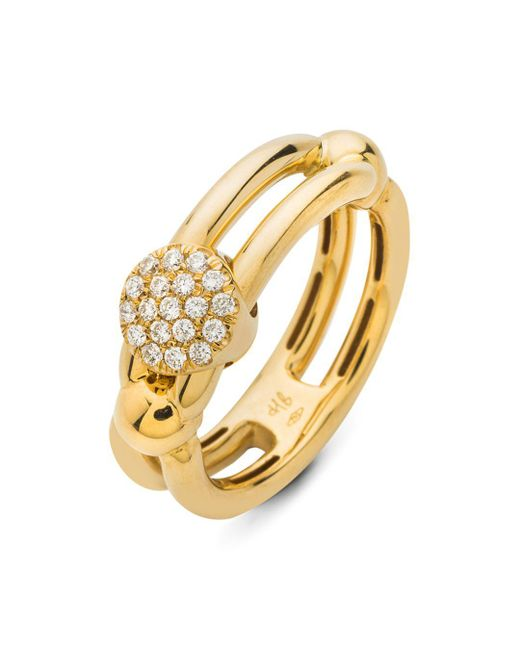 Hulchi Belluni - Metallic 18k Yellow Gold Tresore Diamond Single Ring - Lyst