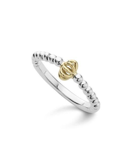 Lagos - Metallic Caviar Icon 18k Gold And Sterling Silver Fluted Bead Stacking Ring - Lyst