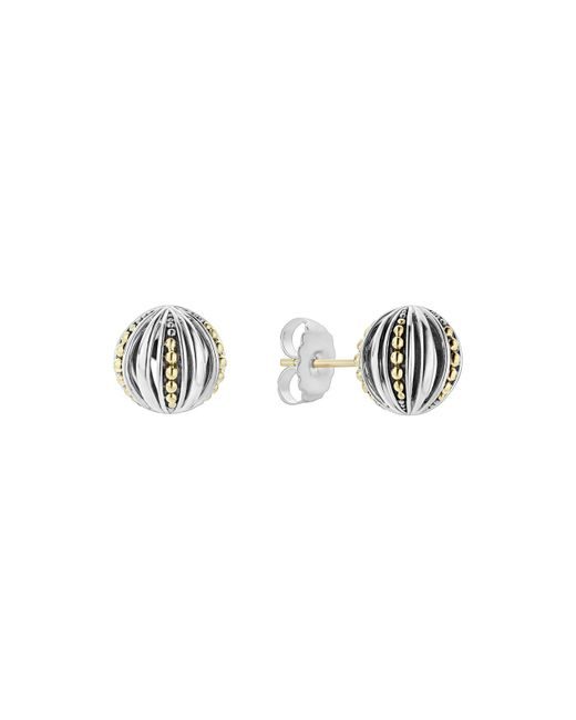 Lagos - Metallic 18k Gold & Sterling Silver Caviar Talisman Beaded Open Ball Stud Earrings - Lyst