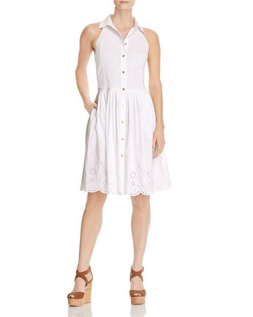 MICHAEL Michael Kors - White Sleeveless Eyelet Dress - Lyst