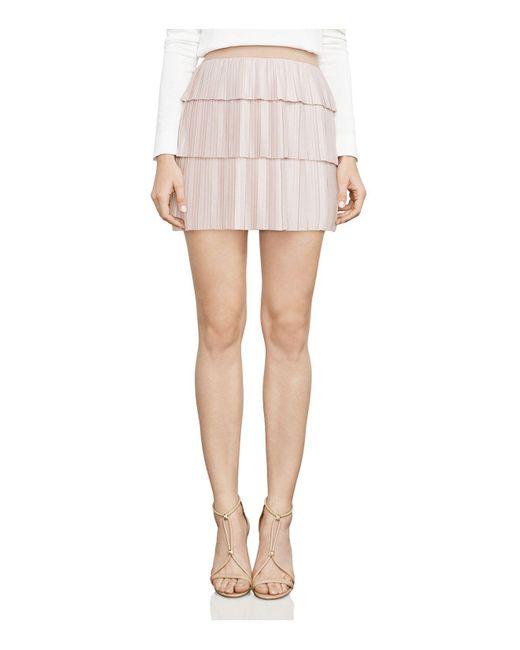 BCBGMAXAZRIA | Pink Zana Pleated Mini Skirt | Lyst
