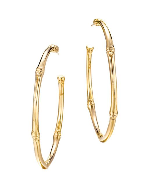 John Hardy - Metallic Bamboo 18k Yellow Gold Large Hoop Earrings - Lyst
