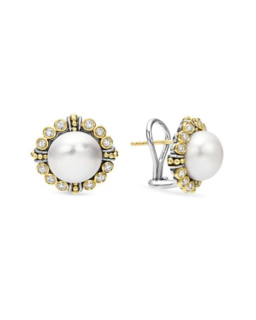Lagos | Metallic Sterling Silver And 18k Gold Cultured Freshwater Pearl Earrings With Diamonds | Lyst
