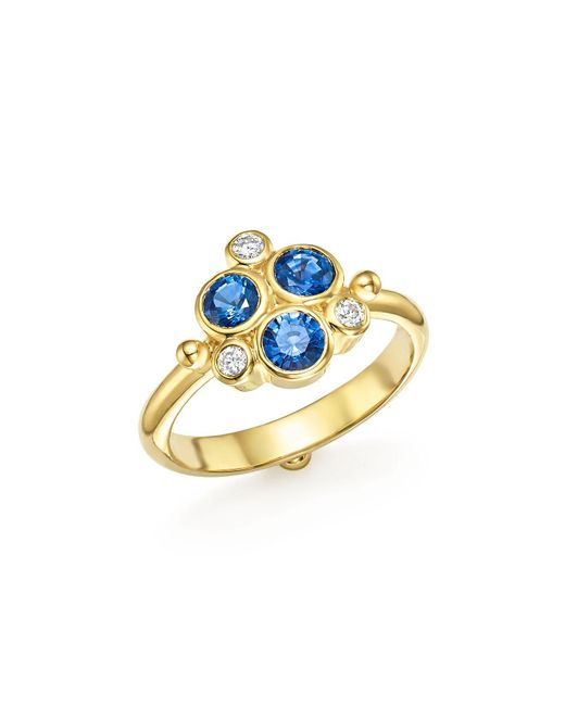 Temple St. Clair | Metallic 18k Yellow Gold Sapphire And Diamond Trio Ring | Lyst