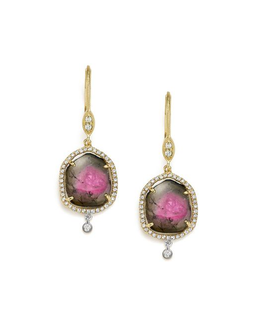 Meira T - Multicolor 14k White And Yellow Gold Diamond And Watermelon Tourmaline Drop Earrings - Lyst