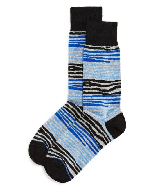 Bloomingdale's Blue Color - Block Zebra Socks for men