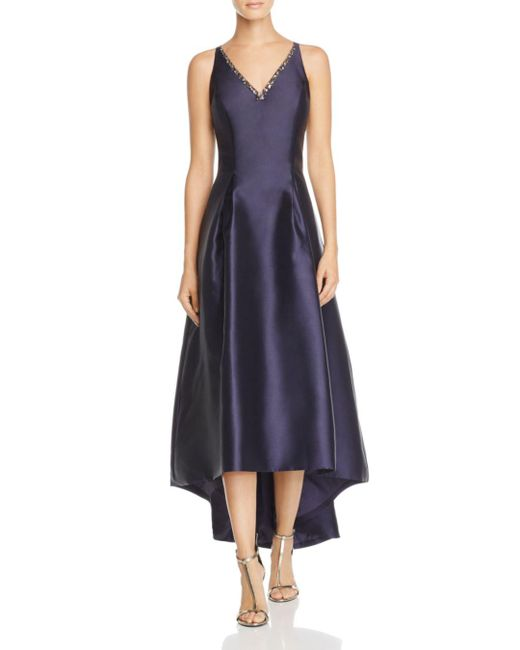 Carmen Marc Valvo - Blue Infusion Mikado V-neck High/low Gown - Lyst