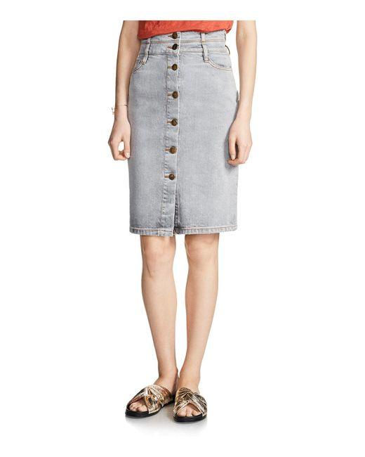 maje jemmie denim pencil skirt in gray lyst