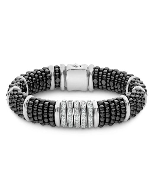 Lagos - Sterling Silver Black Caviar Five - Bar Station Pavé Diamond & Black Ceramic Bracelet - Lyst