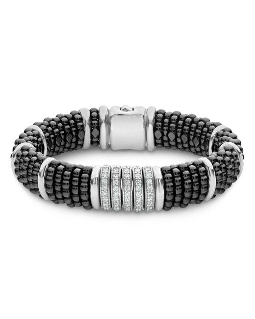 Lagos - Sterling Silver Black Caviar Five-bar Station Pavé Diamond & Black Ceramic Bracelet - Lyst