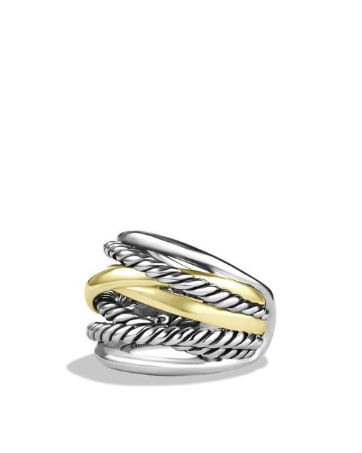 David Yurman | Metallic Crossover Wide Ring With Gold | Lyst