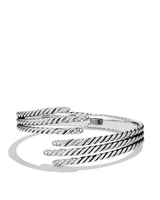 David Yurman   Metallic Willow Open Three-row Bracelet With Diamonds   Lyst