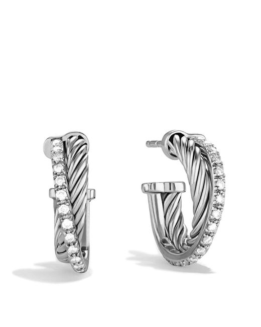 David Yurman | Metallic Crossover Extra Small Hoop Earrings With Diamonds | Lyst