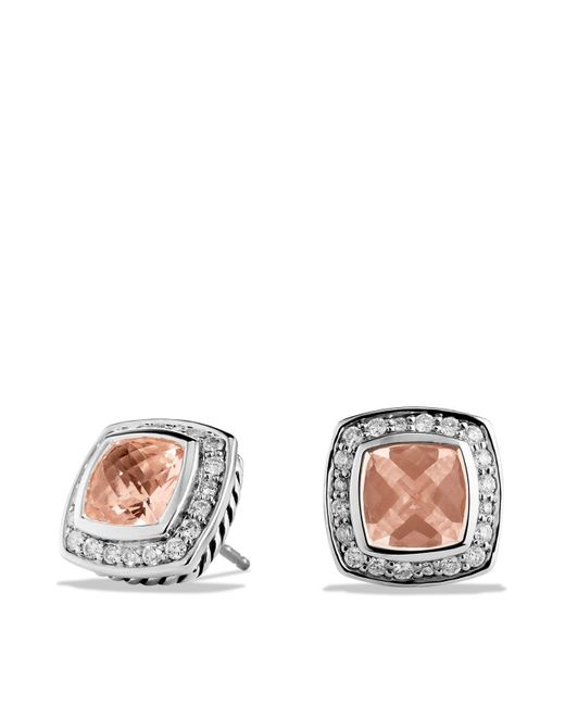 David Yurman | Metallic Petite Albion Earrings With Morganite & Diamonds | Lyst