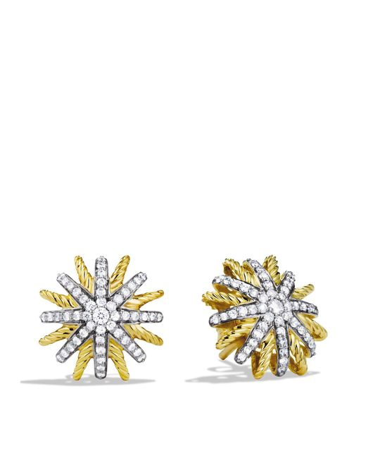 David Yurman | Yellow Starburst Extra Small Earrings With Diamonds In Gold | Lyst