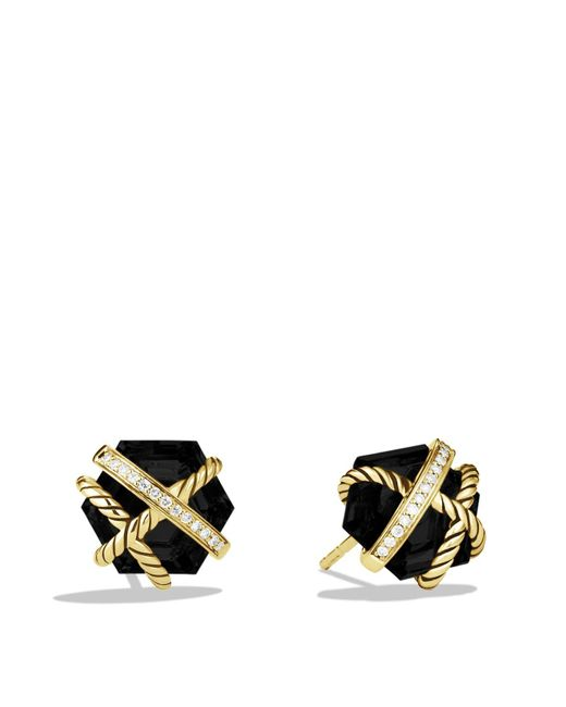 David Yurman | Yellow Cable Wrap Earrings With Black Onyx | Lyst