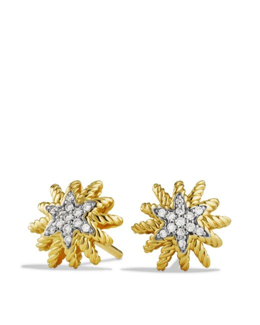 David Yurman | Yellow Starburst Mini Earrings With Diamonds In Gold | Lyst