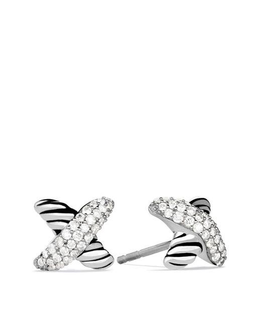 David Yurman | Metallic X Earrings With Diamonds | Lyst