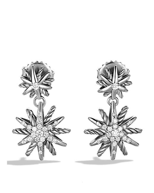 David Yurman | Metallic Starburst Double-drop Earrings With Diamonds | Lyst