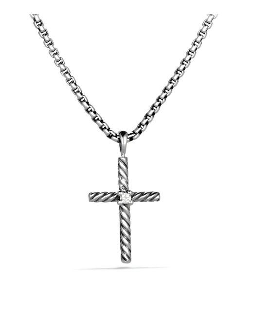 David Yurman | Metallic Cable Classics Cross With Diamond | Lyst