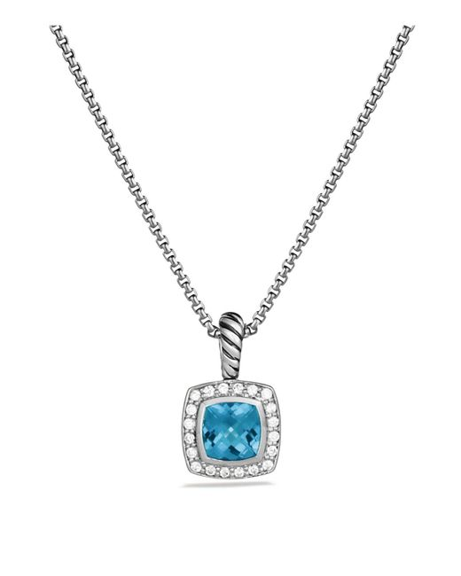 David Yurman | Petite Albion Pendant With Blue Topaz And Diamonds On Chain | Lyst